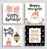 Reeks Kerstmis en Nieuwjaarskaarten Stock Foto's