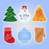Reeks Kerstmis en Nieuwjaarstickers met met de hand geschreven groeten Stock Afbeeldingen