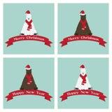Reeks Kerstmis en van het Nieuwjaar kaarten met beren Stock Afbeelding