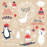 Reeks Kerstmis grafische elementen Stock Foto's