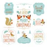 Reeks Kerstmis het van letters voorzien en grafische elementen Royalty-vrije Stock Foto