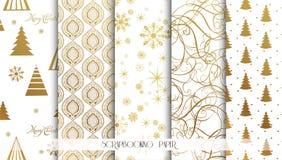 Reeks Kerstmis Naadloze achtergronden Gouden patroon Vector stock illustratie