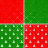 Reeks Kerstmis naadloze ornamenten Royalty-vrije Stock Fotografie