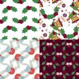 Reeks Kerstmis naadloze patronen Stock Afbeelding