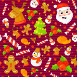 Reeks Kerstmis naadloze patronen Achtergronden met symbolenvakantie en van de pictogrammenfamilie vieringselementen De winter Royalty-vrije Stock Afbeelding