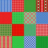 Reeks Kerstmis naadloze patronen Uitstekende Tegel, vector Royalty-vrije Stock Afbeeldingen