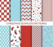 Reeks Kerstmis naadloze vectorpatronen Royalty-vrije Stock Afbeelding