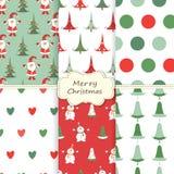 Reeks Kerstmis sealess patronen Royalty-vrije Stock Fotografie