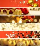 Reeks Kerstmisbanners - decoratieachtergrond Stock Foto's