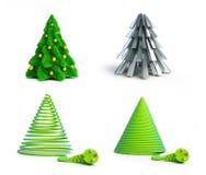 Reeks Kerstmisbomen 3D illustraties Stock Afbeeldingen