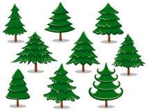 Reeks Kerstmisbomen Inzameling van vrolijke Kerstmis Royalty-vrije Stock Afbeeldingen