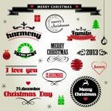 Reeks Kerstmiselementen Stock Foto's