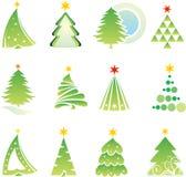 Reeks Kerstmiselementen Stock Afbeeldingen