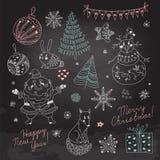 Reeks Kerstmiselementen voor ontwerp royalty-vrije illustratie
