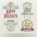 Reeks Kerstmisemblemen en ontwerpen Stock Foto's