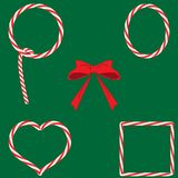 Reeks Kerstmiskaders van de suikergoedkaramel lollypops met rode boog op groene achtergrond, vlak ontwerp, vector vector illustratie