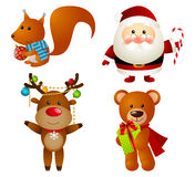 Reeks Kerstmiskarakters Royalty-vrije Stock Afbeelding
