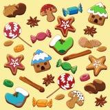 Reeks Kerstmispeperkoek, kruid, snoepjes en noten stock illustratie