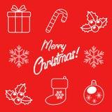 Reeks Kerstmispictogrammen royalty-vrije stock afbeeldingen