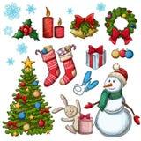 Reeks Kerstmispictogrammen Stock Foto's