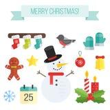 Reeks Kerstmispictogrammen Vector vlakke elementensneeuwman, sokken Royalty-vrije Stock Afbeelding