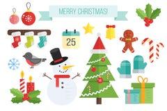 Reeks Kerstmispictogrammen Vector vlakke elementensneeuwman, sokken Royalty-vrije Stock Fotografie