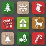 Reeks Kerstmispictogrammen in vlakke stijl Stock Foto