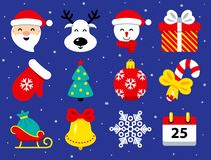 Reeks Kerstmispictogrammen in vlakke stijl op blauw stock illustratie