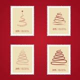 Reeks Kerstmispostzegels met boom Stock Foto's