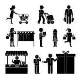 Reeks klanten en het winkelen pictogrammen royalty-vrije illustratie