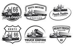 Reeks klassiek zwaar vrachtwagenembleem, emblemen en kentekens vector illustratie