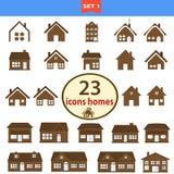 Reeks klassieke huizen in bruine kleur Royalty-vrije Stock Foto's