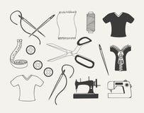 Reeks kleermakerijemblemen, kentekens, etiketten Stock Afbeeldingen