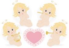 Reeks kleine engelen royalty-vrije illustratie