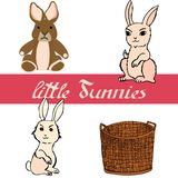 Reeks kleine konijntjes met mand voor het creëren van Pasen-kaart royalty-vrije illustratie