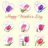 Reeks kleine prentbriefkaaren met tulpen Hand Getrokken Bloem stock afbeeldingen