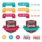 Reeks kleinhandelsstickers en linten Royalty-vrije Stock Afbeelding