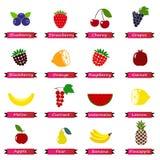 Reeks kleuren eenvoudige pictogrammen - geïsoleerde vruchten en bessen Royalty-vrije Stock Foto's
