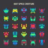 Reeks kleuren ruimtemonsters met 8 bits Stock Foto's
