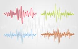 Reeks kleuren vector correcte golven Audioequalisertechnologie, impulsmusical Royalty-vrije Stock Fotografie