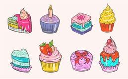 Reeks kleuren vector en heerlijke cakes Stock Foto's