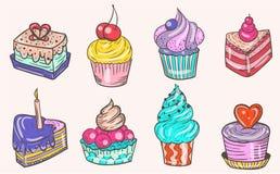 Reeks kleuren vector en heerlijke cakes Stock Foto