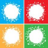 Reeks kleuren vectorachtergronden met witte muzieknota's in centrum Royalty-vrije Stock Fotografie