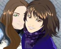 Reeks kleuren vectorillustraties in stijl van Japanse anime Stock Foto