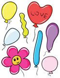Reeks kleurenballons Stock Fotografie