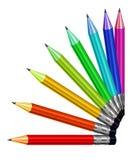 Reeks kleurenkleurpotloden Vector Illustratie
