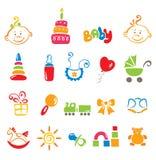 Reeks kleurenpictogrammen - baby stock illustratie