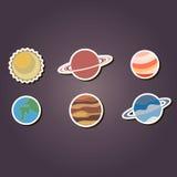 Reeks kleurenpictogrammen met planeten van het zonnestelsel vector illustratie