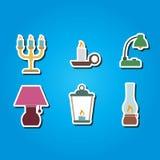 Reeks kleurenpictogrammen met verschillende lampen vector illustratie