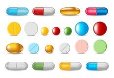 Reeks kleurenpillen en capsules in realistische stijl royalty-vrije stock afbeelding